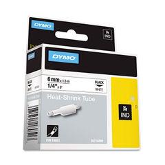 """Rhino Heat Shrink Tubes Industrial Label Tape Cassette, 1/4"""" x 5 ft, White"""