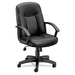 basyx® VL601 Series Managerial Mid-Back Leather Chair