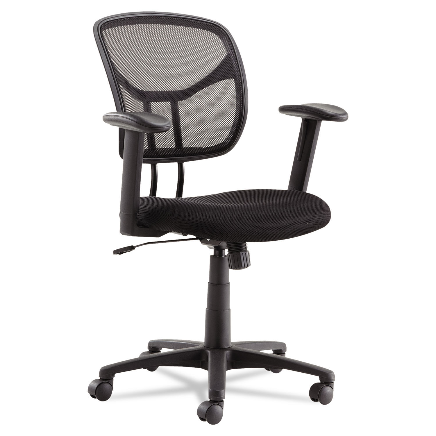 Swivel Tilt Mesh Task Chair With Adjustable Arms Supports Up To 250 Lbs Black Seat Black Back Black Base