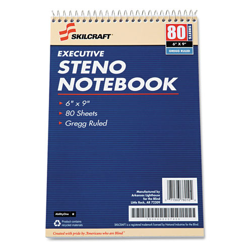 Executive Steno Book, Wide/Legal Rule, 6 x 9, White, 80 Sheets, 12/Pack,  GSA 753000223793