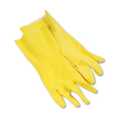 BWK242L - Flock-Lined Latex Cleaning Gloves, Large, Yellow, 12 Pairs