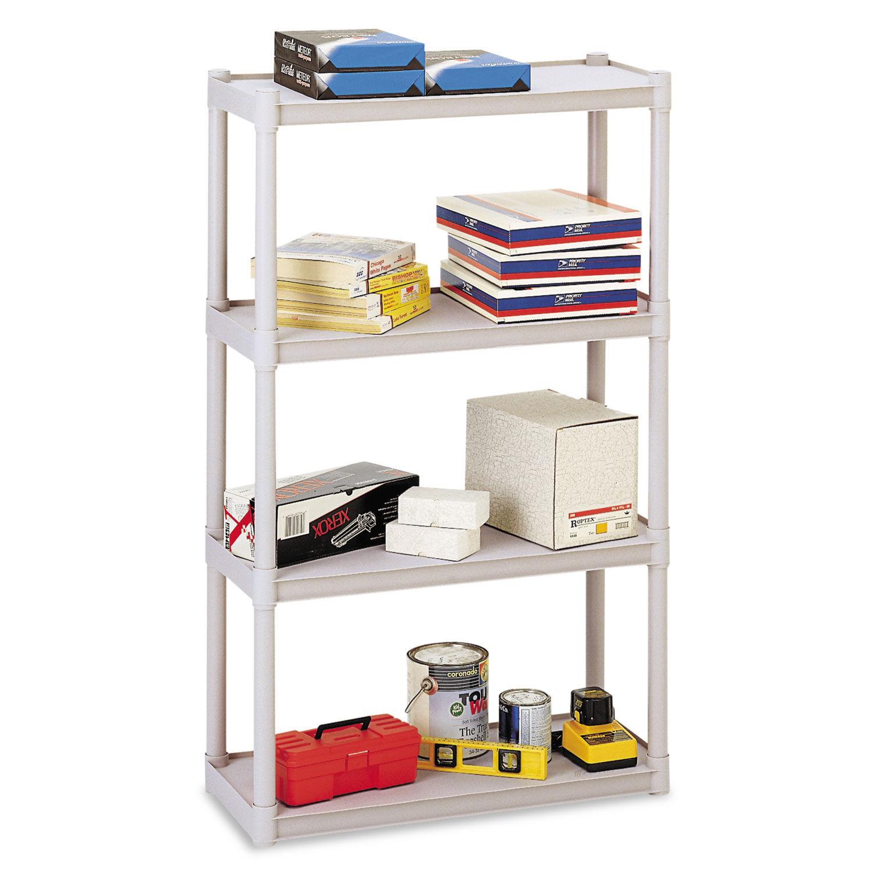 Rough N Ready Four Shelf Open Storage System Resin 32w X 13d X 54h Platinum