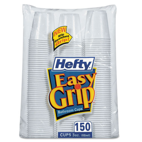 Easy Grip Disposable Plastic Bathroom Cups, 3oz, White, 150/Pack