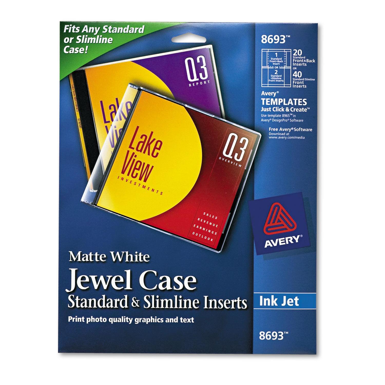 Inkjet Cd Dvd Jewel Case Inserts By Avery Ave8693 Ontimesupplies Com