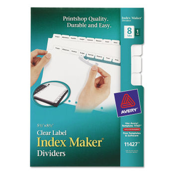 Print & Apply Clear Label Dividers w/White Tabs by Avery® AVE11427