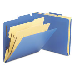 SMD14045 - Six-Section Poly Classification Folders, 2 Dividers, Letter Size, Blue, 10/Box