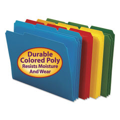 SMD10500 - Waterproof Poly File Folders, 1/3 Cut Top Tab, Letter, Assorted, 24/Box