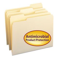 SMD10338 - Top Tab File Folders with Antimicrobial Product Protection, 1/3-Cut Tabs, Letter Size, Manila, 100/Box