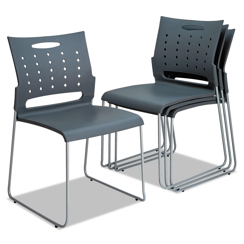 Alera Continental Series Plastic Perforated Back Stack Chair Charcoal Gray Seat Back Gunmetal Gray Base 4 Carton