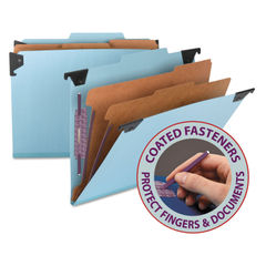 SMD65115 - Hanging Pressboard Classification Folders with SafeSHIELDCoated Fasteners, Letter Size, 2 Dividers, Blue