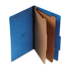 UNV10311 - Bright Colored Pressboard Classification Folders, 2 Dividers, Legal Size, Cobalt Blue, 10/Box