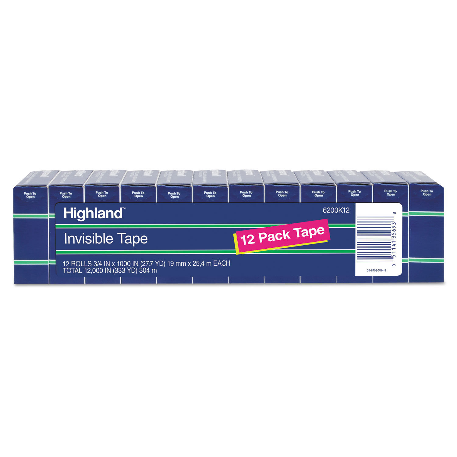 """1/"""" Core 051141356938 3//4/"""" x 1000/"""" Highland Invisible Permanent Mending Tape"""