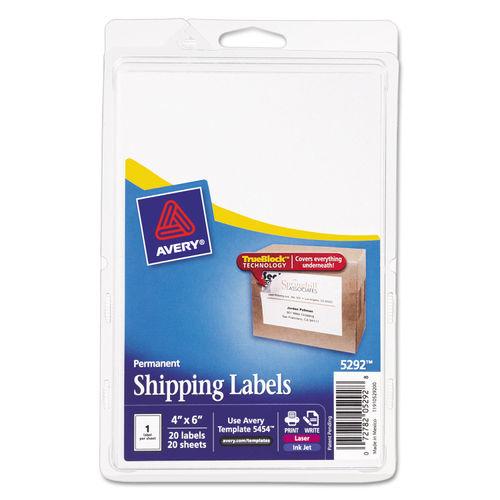 Full-Sheet Labels with TrueBlock Technology, Inkjet/Laser, 4 x 6, White,  20/Pack