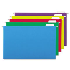 UNV14221 - Deluxe Bright Color Hanging File Folders, Legal Size, 1/5-Cut Tab, Assorted, 25/Box