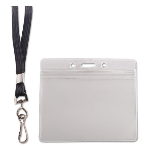 10489ef79708 Resealable ID Badge Holder, Lanyard, Horizontal, 3 3/4 x 2 5/8, Clear,  20/Pack