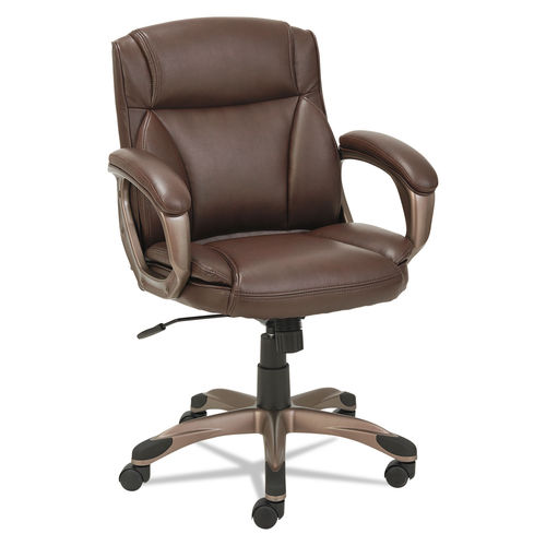 Amazing Alera Veon Series Low Back Leather Task Chair Supports Up To 275 Lbs Brown Seat Brown Back Bronze Base Creativecarmelina Interior Chair Design Creativecarmelinacom