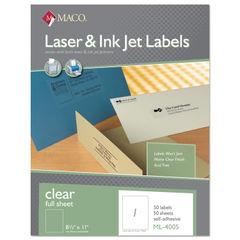 MACO® Laser/Inkjet Matte Clear Full Sheet Labels Thumbnail