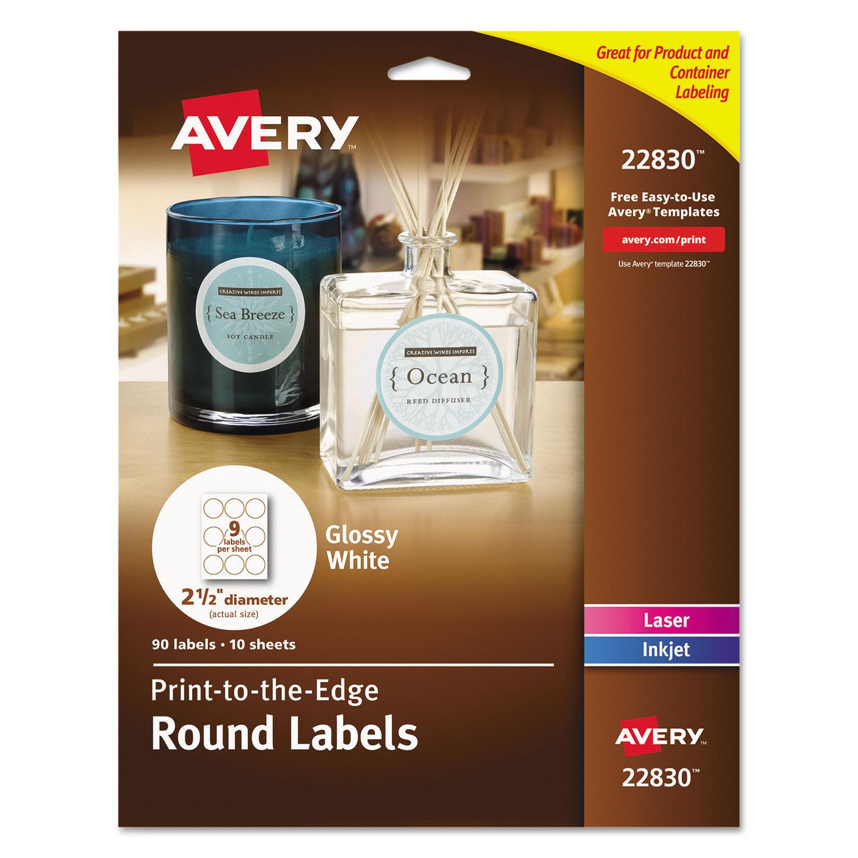 Round True Print Labels, 2 1/2