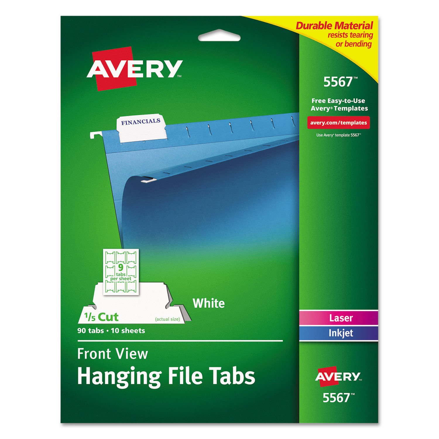 picture relating to Avery Printable Tabs identified as Print/Compose-Upon Putting Tabs, 1/5 Tab, 2 1/16, White, 90/Pack