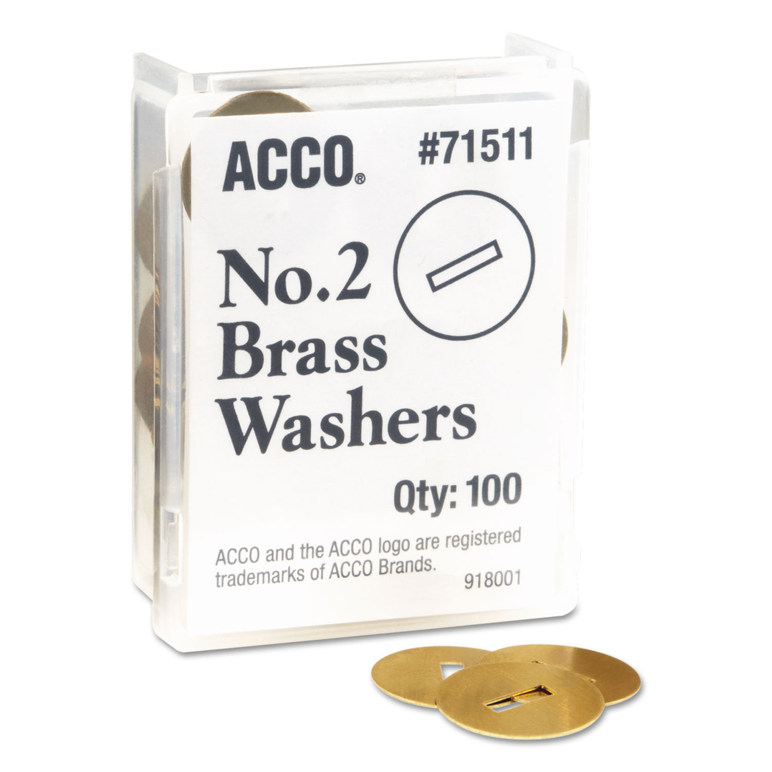 """Acco Washers For Two-Prong Fasteners 1.25/"""" Diameter Brass #2 100//Box"""