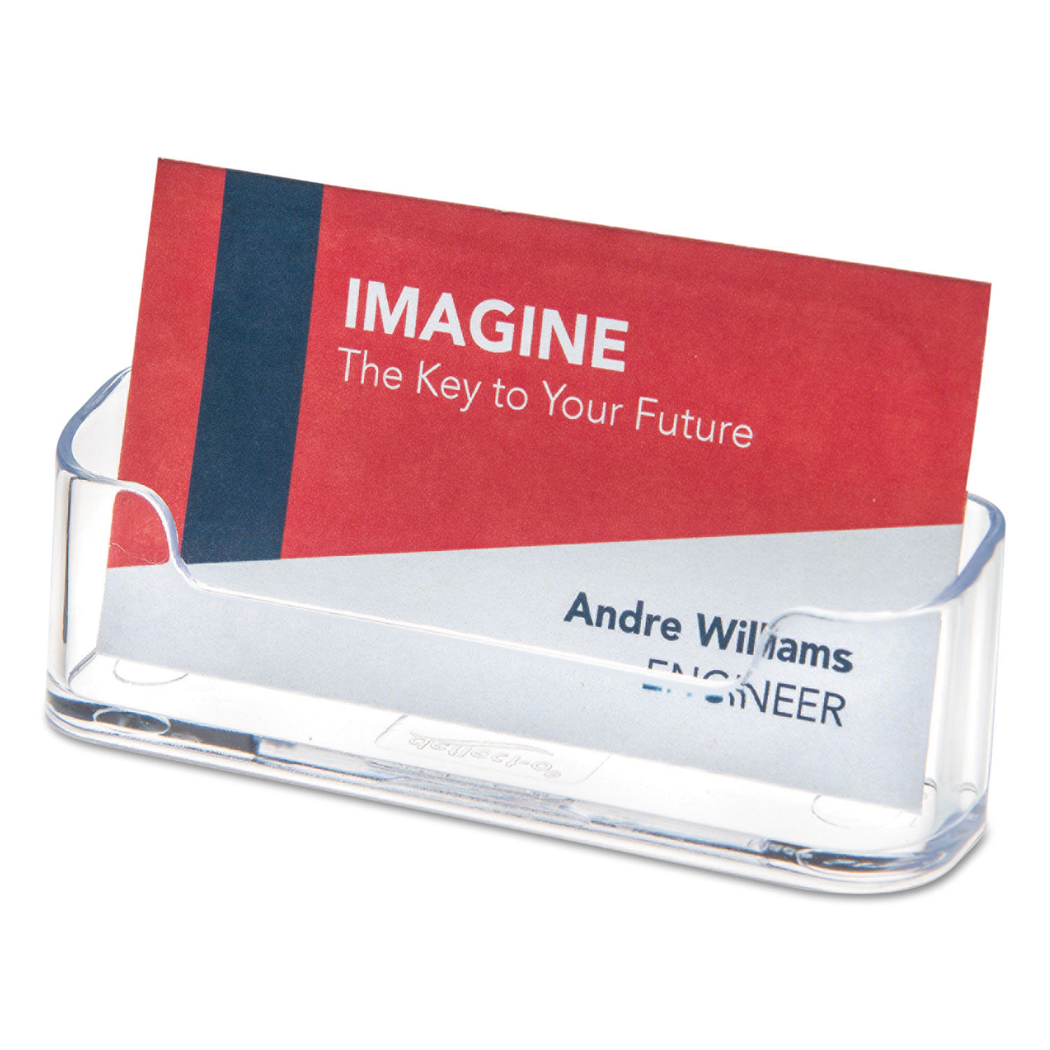 Horizontal Business Card Holder, Holds 20 Cards, 20.20 x 20.208 x 20.820,  Plastic, Clear