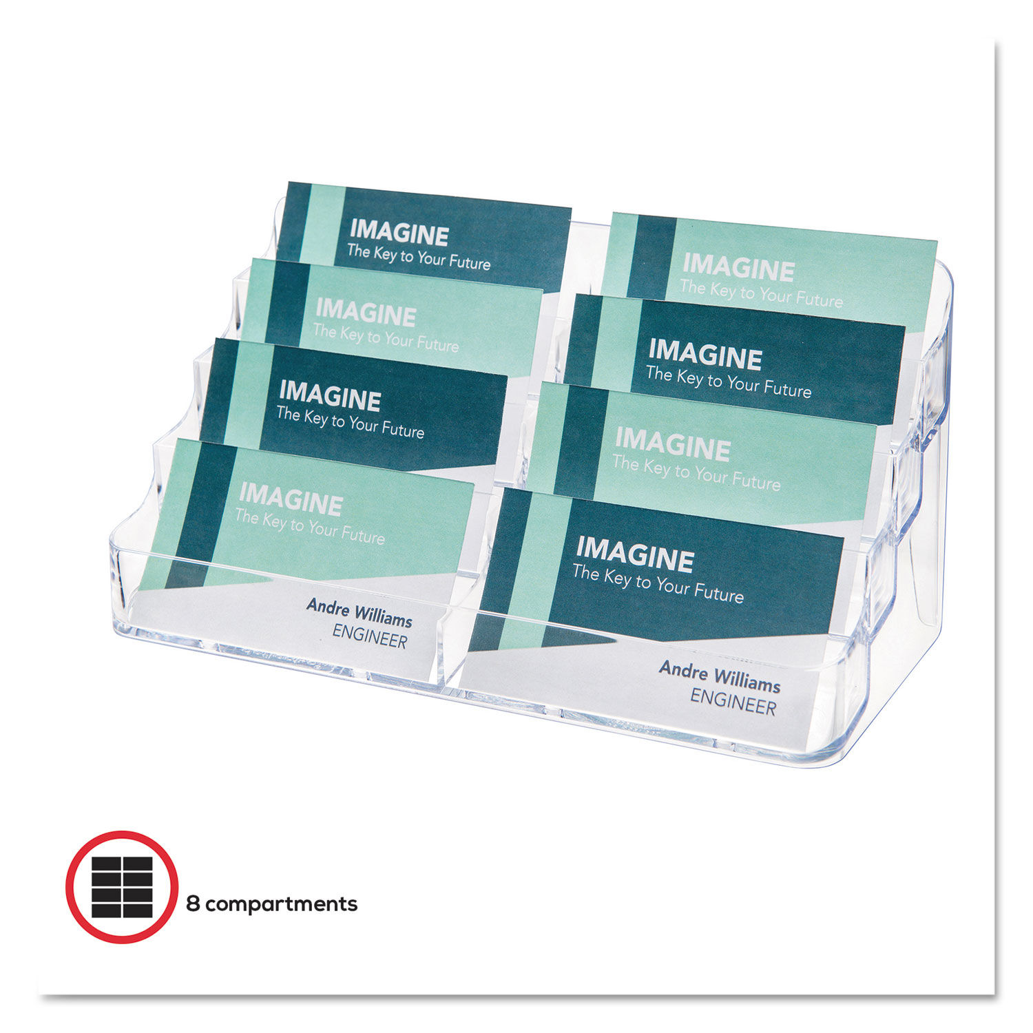 20 Pocket Business Card Holder, Holds 20 Cards, 20.2020 x 20.20 x 20.2020, Plastic,  Clear