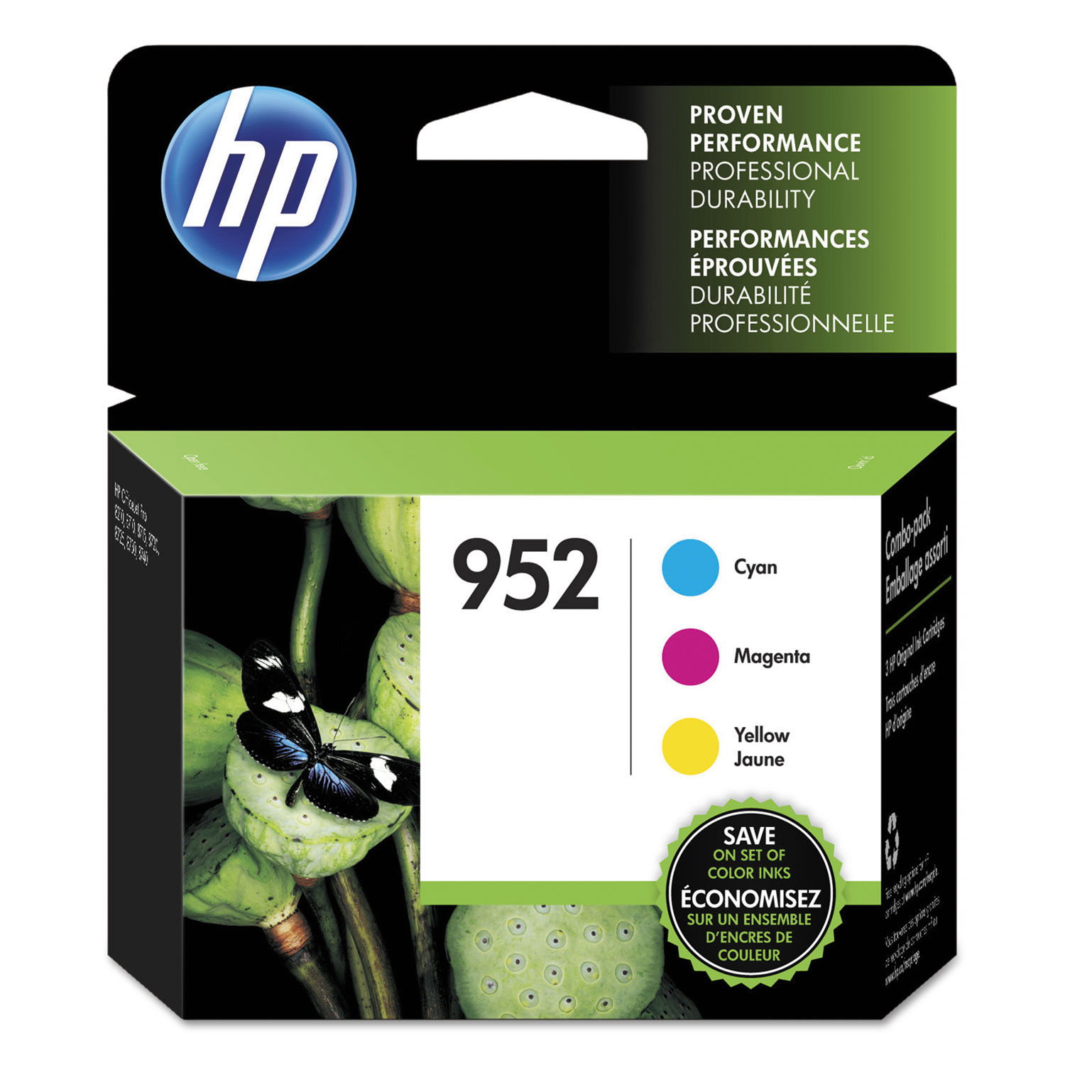 OFFICEJET PRO 8200 8210 8216 8218 RETAIL BOX 3-PACK HP GENUINE 952 Color Ink