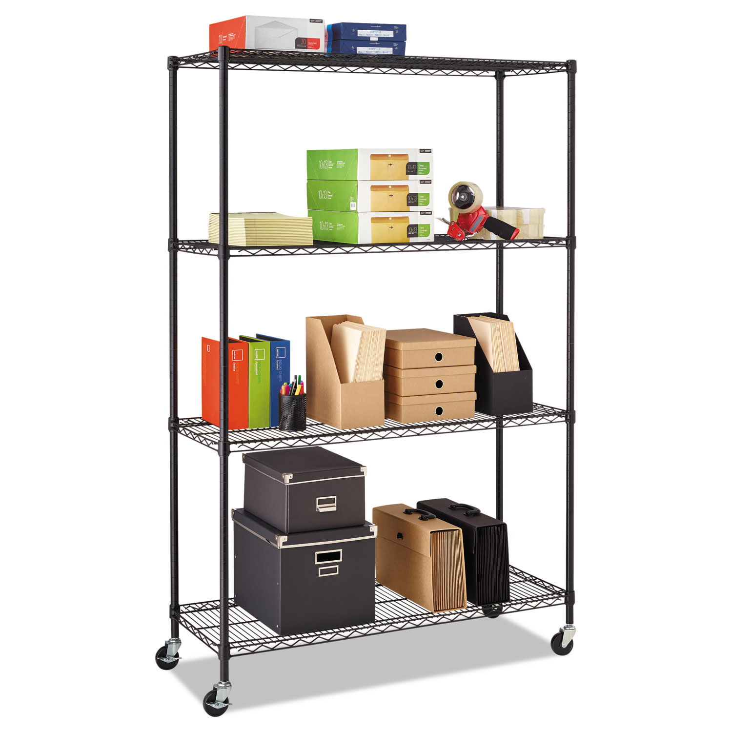 Alera 4 Shelf Wire Shelving Kit With Casters Shelf Liners