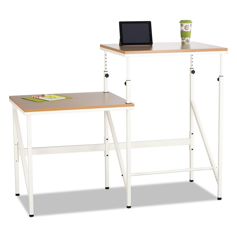 Bi-Level Standing Height Desk, 57 1/2w x 24d x 50h, Beech/Cream