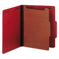 UNV10203 - Bright Colored Pressboard Classification Folders, 1 Divider, Letter Size, Ruby Red, 10/Box