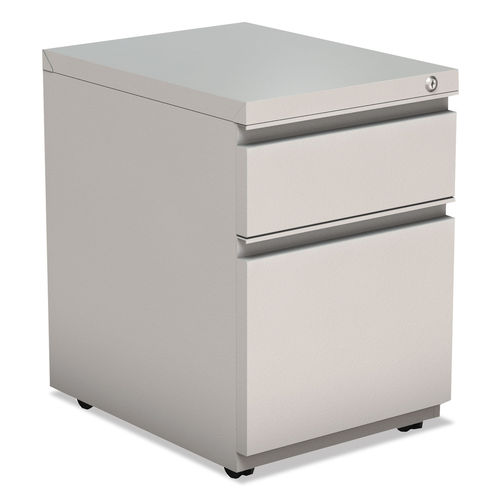 2 Drawer Metal Pedestal Box File W Full Length Pull 14 7 8w X 19 1 8d Lt Gray