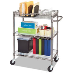 Alera® Three-Tier Wire Cart with Basket Thumbnail