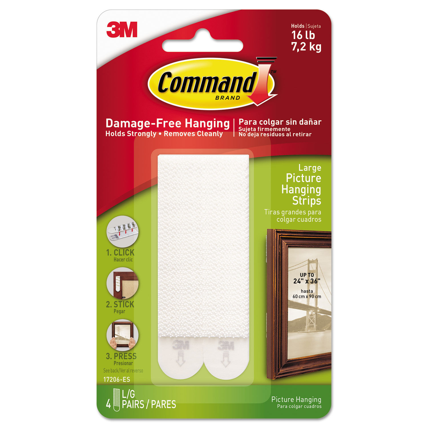 """MMM17206ES White 4//Pack 1//2/"""" x 3 5//8/"""" Command Picture Hanging Strips"""