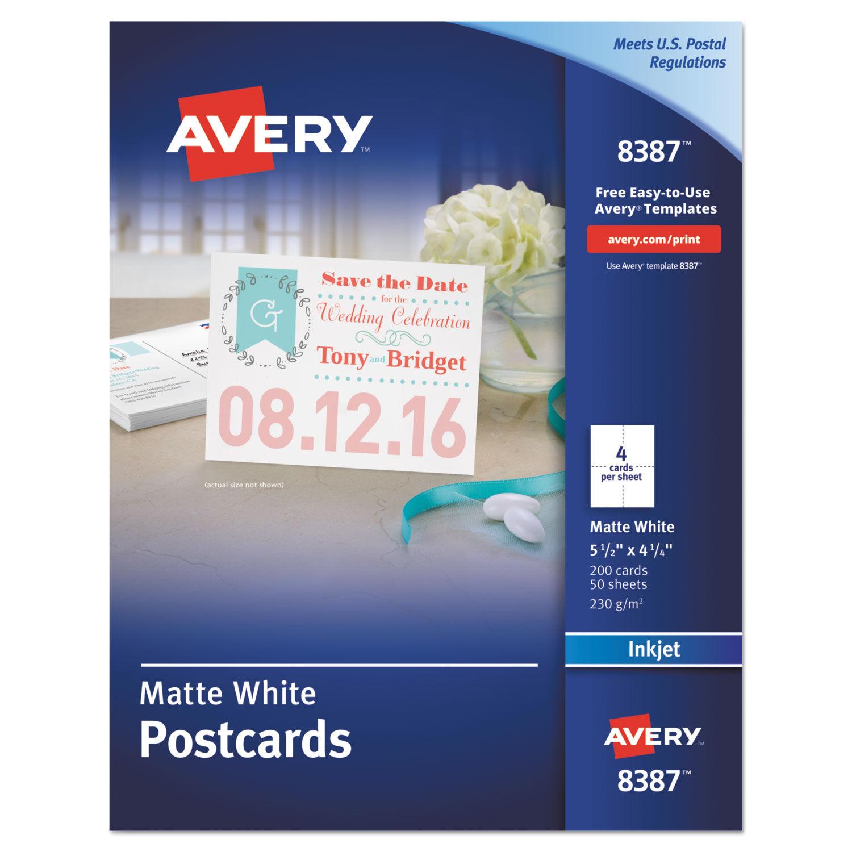 Postcards for Inkjet Printers, 4 1/4 x 5 1/2, Matte White, 4/Sheet, 200/Box