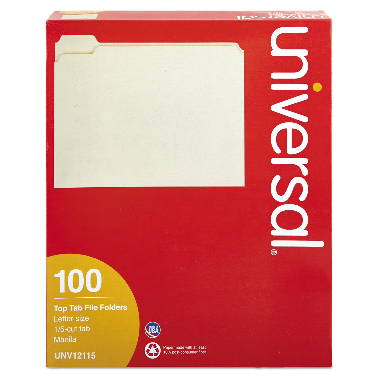 Staples Manila File Folders Letter 5 Tab Assorted Position 100//Box 116699
