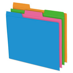 PFX40528 - Glow Poly File Folders, 1/3 Cut Top Tab, Letter, Assorted Colors, 12/Pack