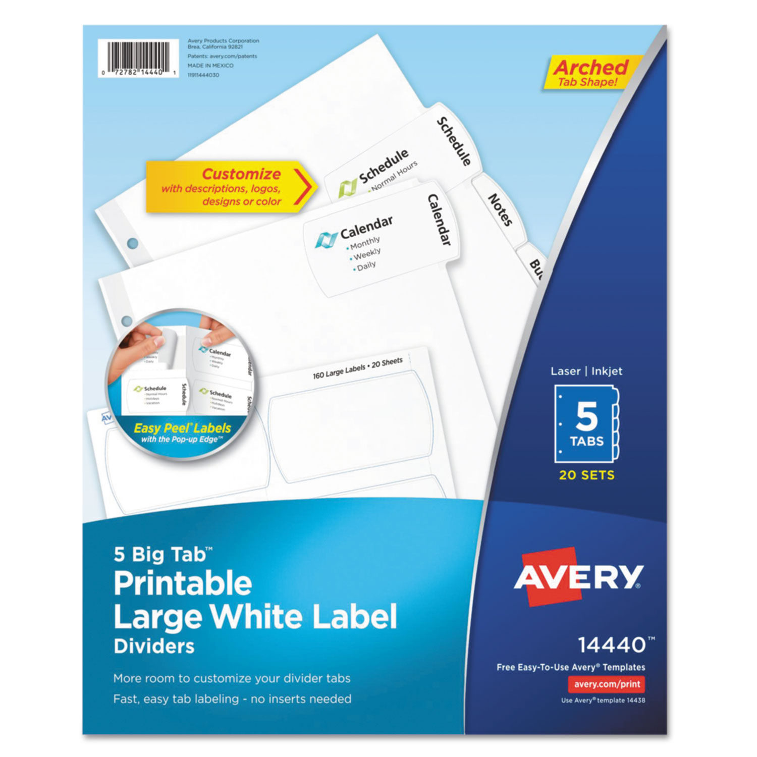 photo about Printable Tabs referred to as Large Tab Printable Major White Label Tab Dividers, 5-Tab, Letter, 20 for every pack