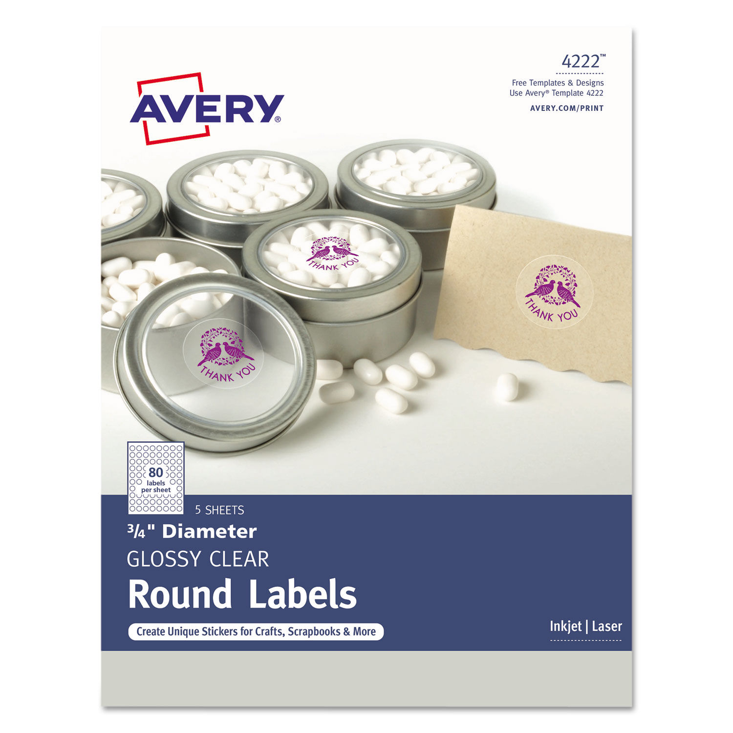 image relating to Clear Printable Labels known as Printable Self-Adhesive Long-lasting 3/4\