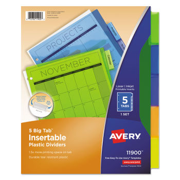ave11201 avery insertable style edge tab plastic dividers.html
