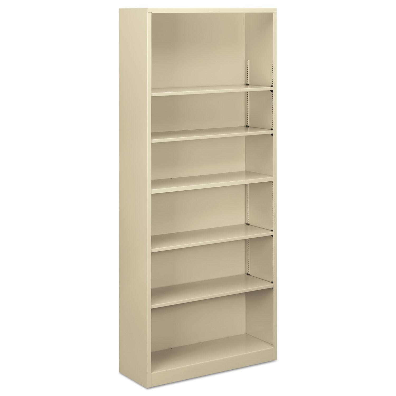 Steel Bookcase 6 Shelf 34 5 W X 12 63 D X 81 13 H Putty