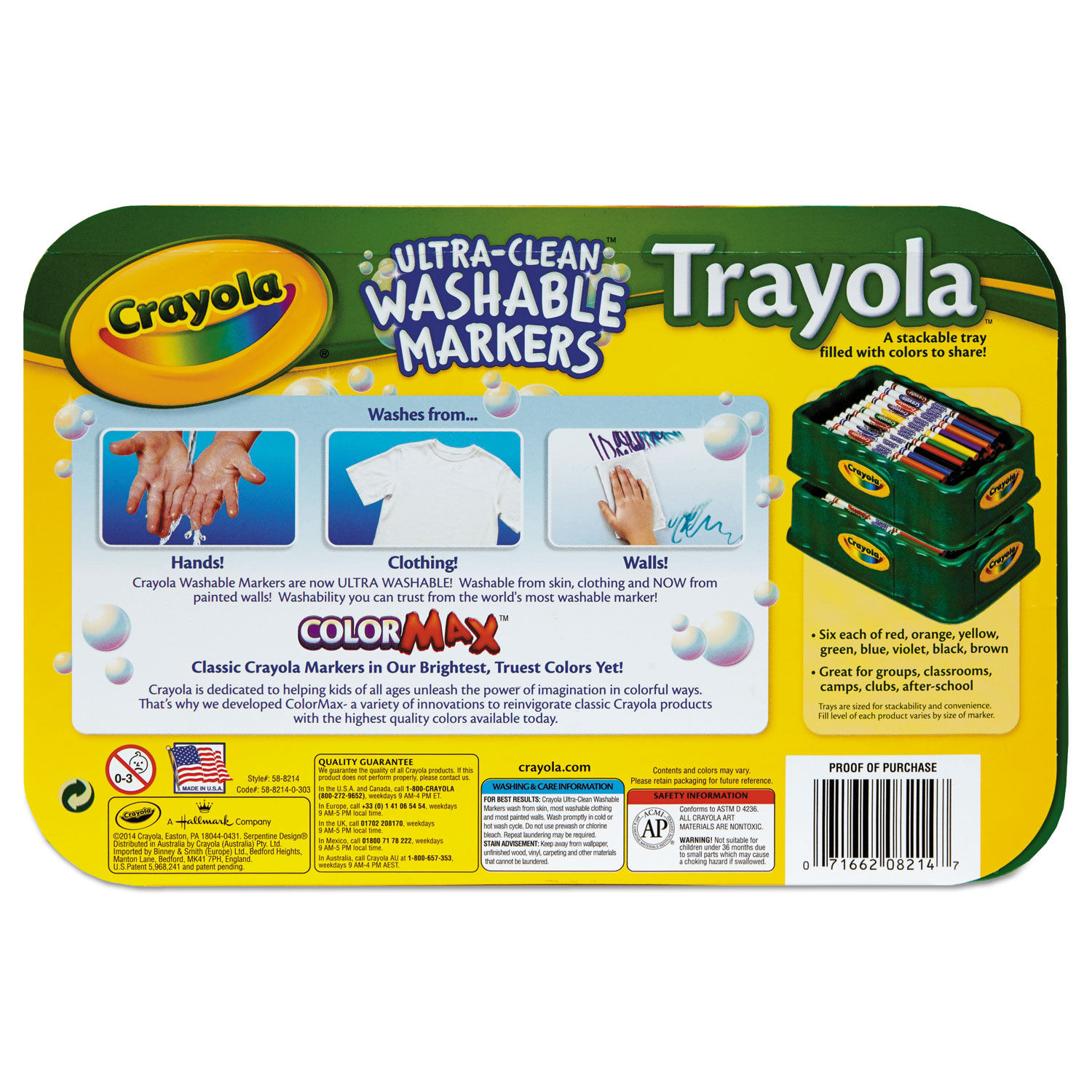 Trayola Washable Markers, Fine Bullet Tip, Assorted Colors, 48/Pack