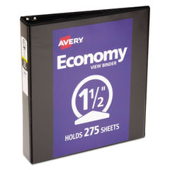 "AVE05725 - Economy View Binder with Round Rings , 3 Rings, 1.5"" Capacity, 11 x 8.5, Black"