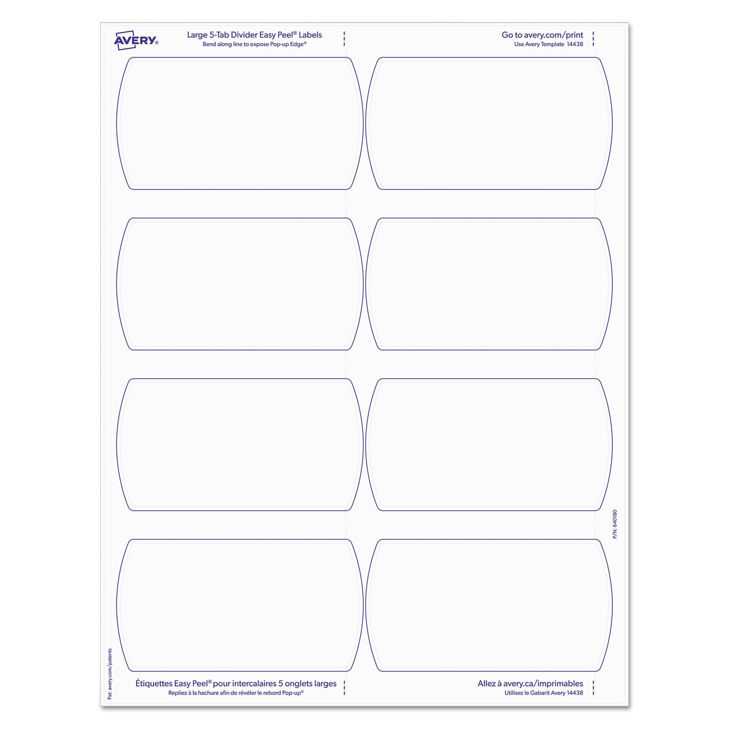 image regarding Divider Tabs Printable named Large Tab Printable Significant White Label Tab Dividers, 5-Tab, Letter, 20 for every pack