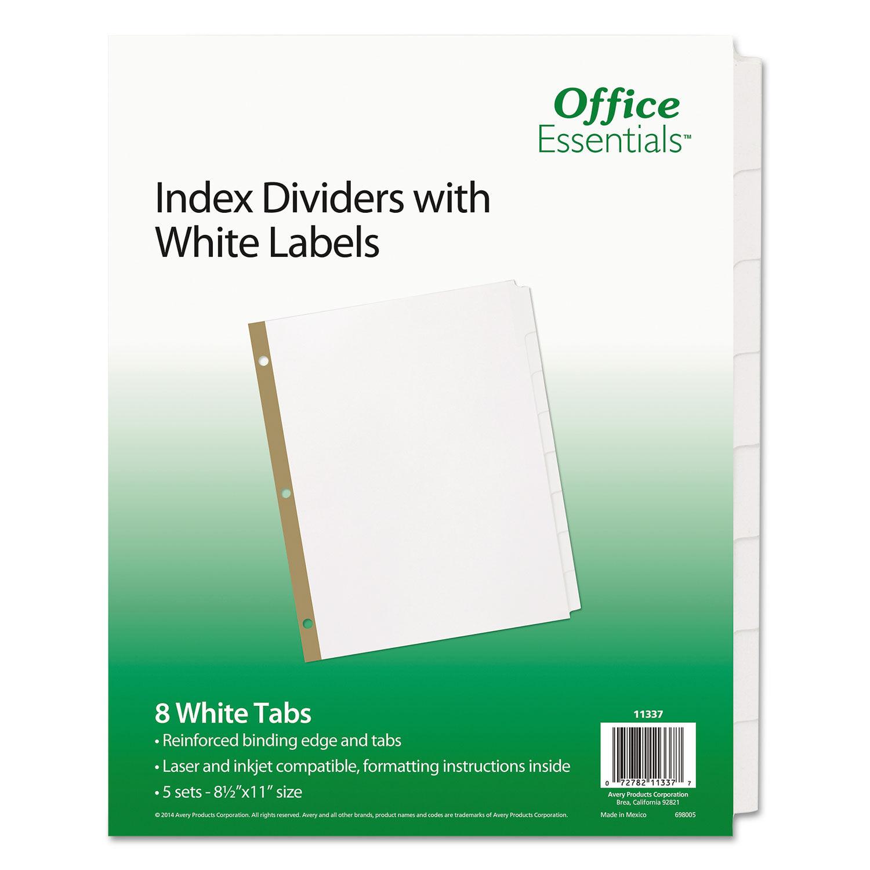 8-Tab 24 Sets 11 x 8.5 Self-Tab Index Dividers White