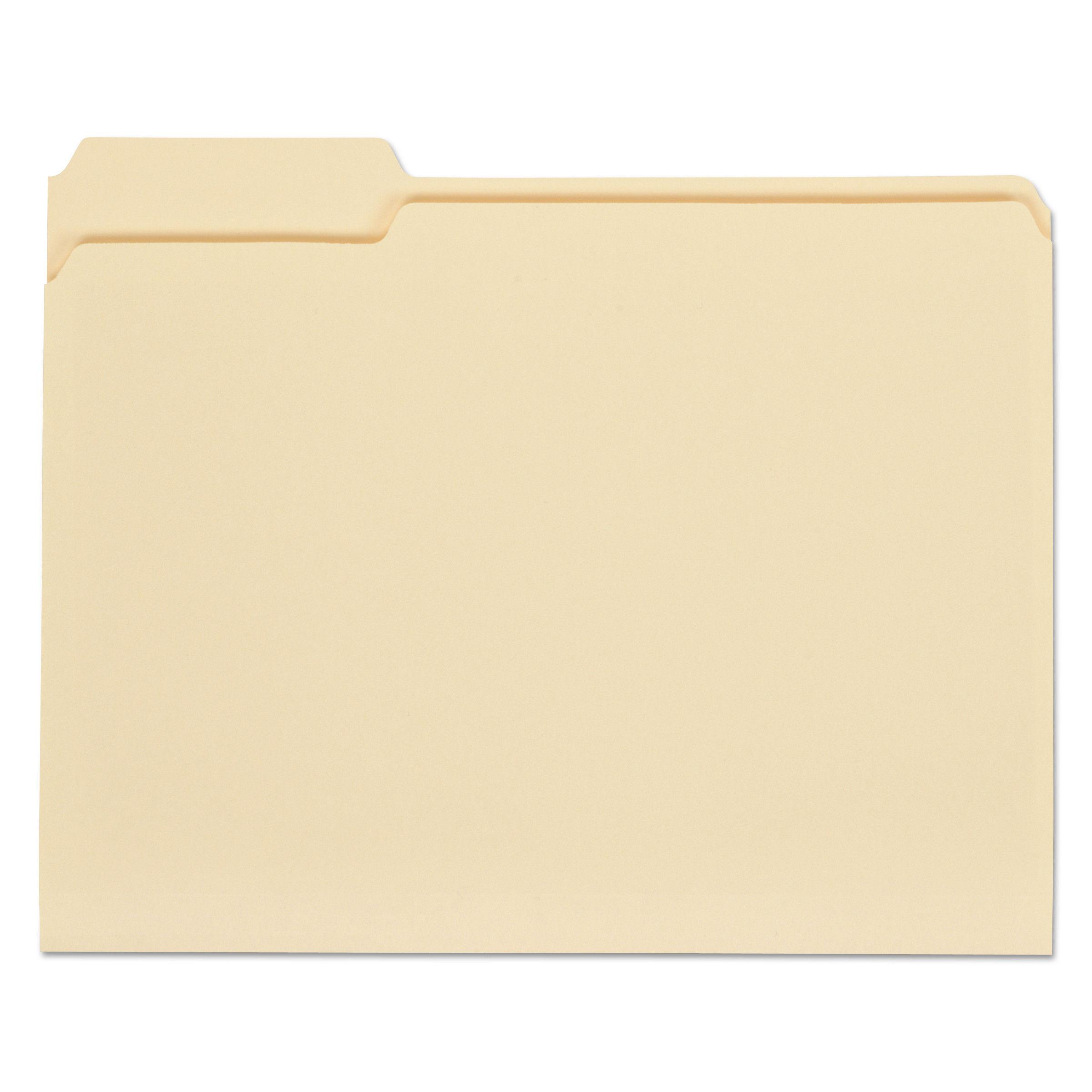100 ct. Office Depot File Folders 1//3 Cut Assorted Top Tab Letter Size Manila