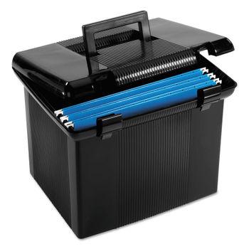 Portable File Boxes, Letter, Plastic, 11 x 14 x 11-1/8, Black