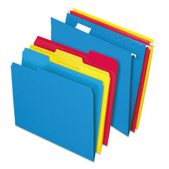 PFX16157 - Combo Filing Kit, Letter Size, 1/3-Cut File Folders, 1/5-Cut Hanging File Folders, Assorted, 12 Sets