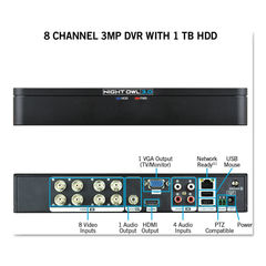 Night Owl 8 Channel Extreme HD 3MP DVR with 1 TB Hard Drive Thumbnail
