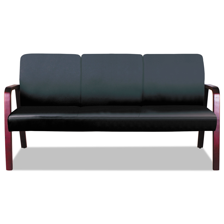 Alera Reception Lounge WL 3-Seat Sofa, 65.75 x 26 1/8 x 33, Black/Mahogany
