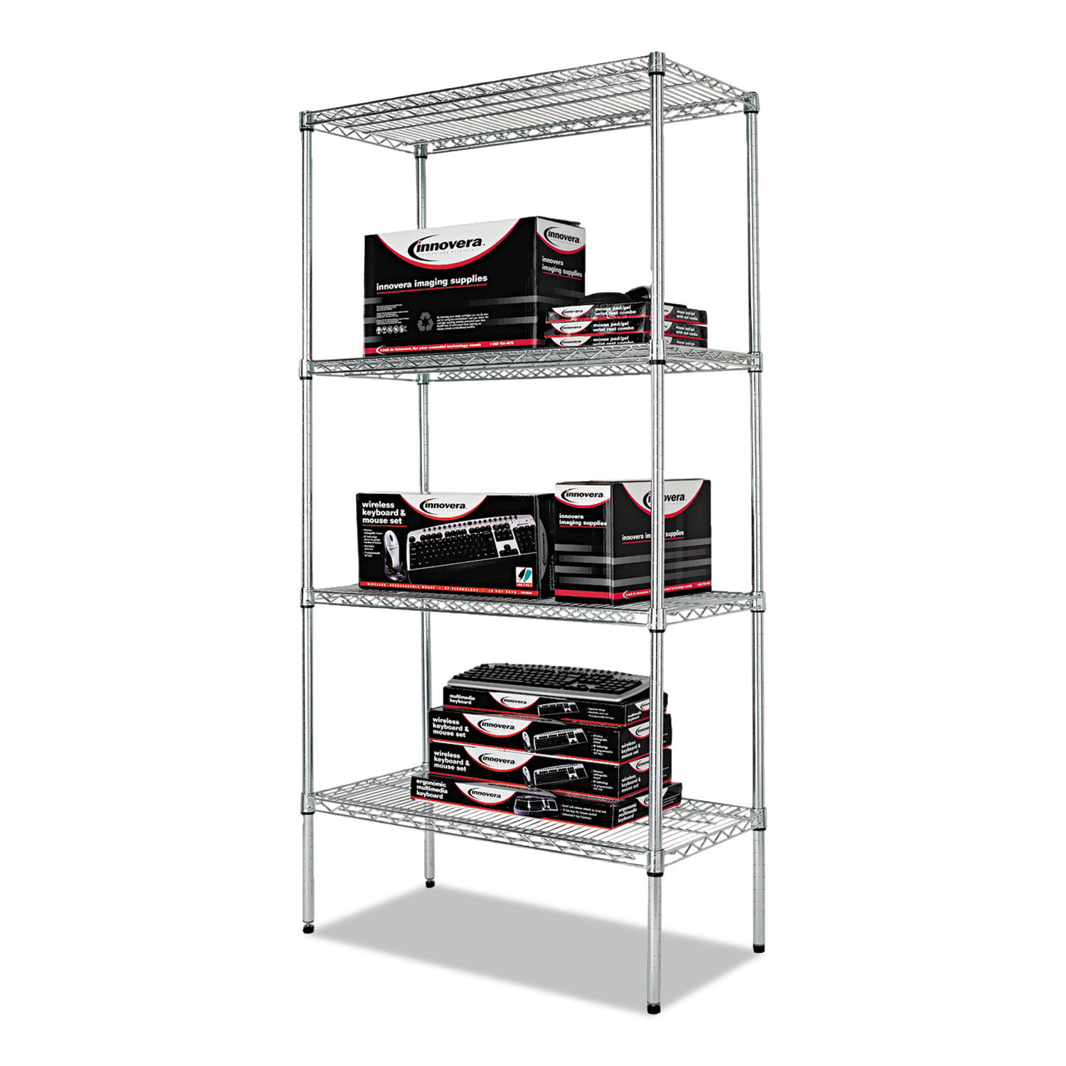 NSF Certified Industrial 4-Shelf Wire Shelving Kit by